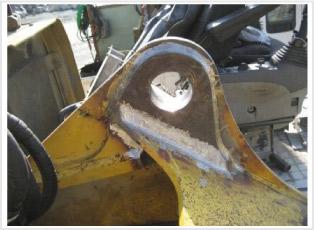 小径サイズで補強板制作取付後正規サイズで研磨修正